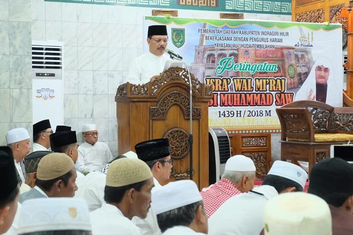 Sekda Inhil Ikuti Isra' Mi'raj Nabi Muhammad SAW di Masjid Al Huda Tembilahan