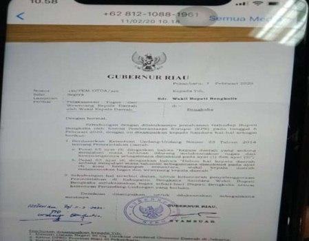 Tunjuk Pelaksana Tugas Bupati Bengkalis, Gubernur Bersurat ke Mendagri