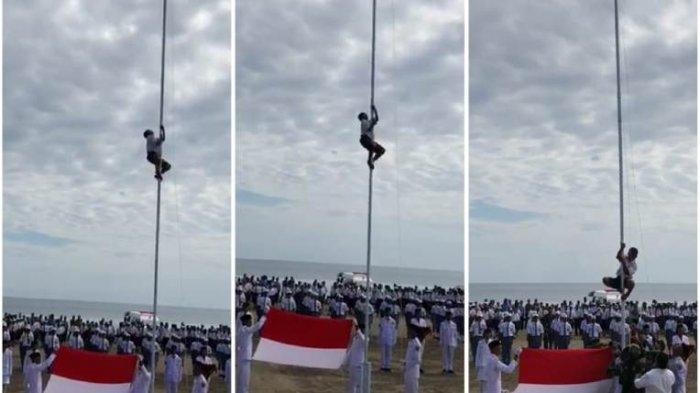 HEBAT...Saat Tali Bendera Putus, Camat dan Tentara Kalang Kabut, Siswa SMP Malah Jadi Pahlawan, Begini Ceritanya