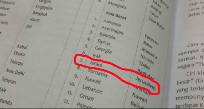 NAH LHO...Yerusalem Ternyata Sudah Jadi Ibu Kota Israel di Buku IPS Kelas VI SD Terbitan Yudistira Ini