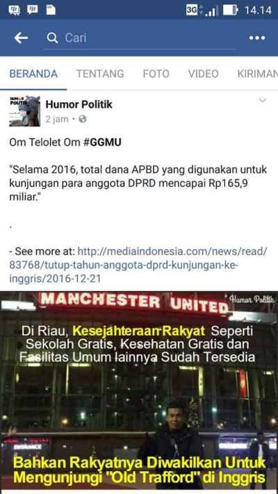 MEJENG DI OLD TRAFFORD, Anggota DPRD Riau Dibilang Lagi Sosialisasikan Om Telolet Om...
