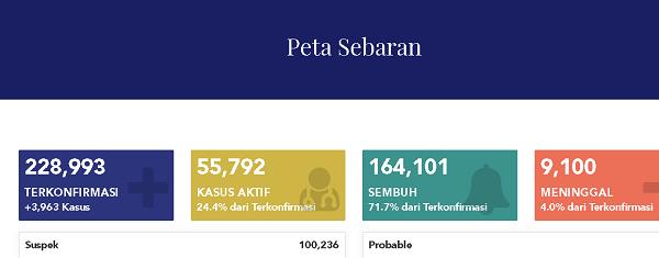 9.100 Orang Meninggal Dunia Karena Covid-19 di Indonesia, Ini Sebaran Kasusnya Hari ini...